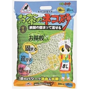 イデシギョー キャットセイド お茶のネコ砂 紙製の固まって流せる8L お茶の猫砂 8L