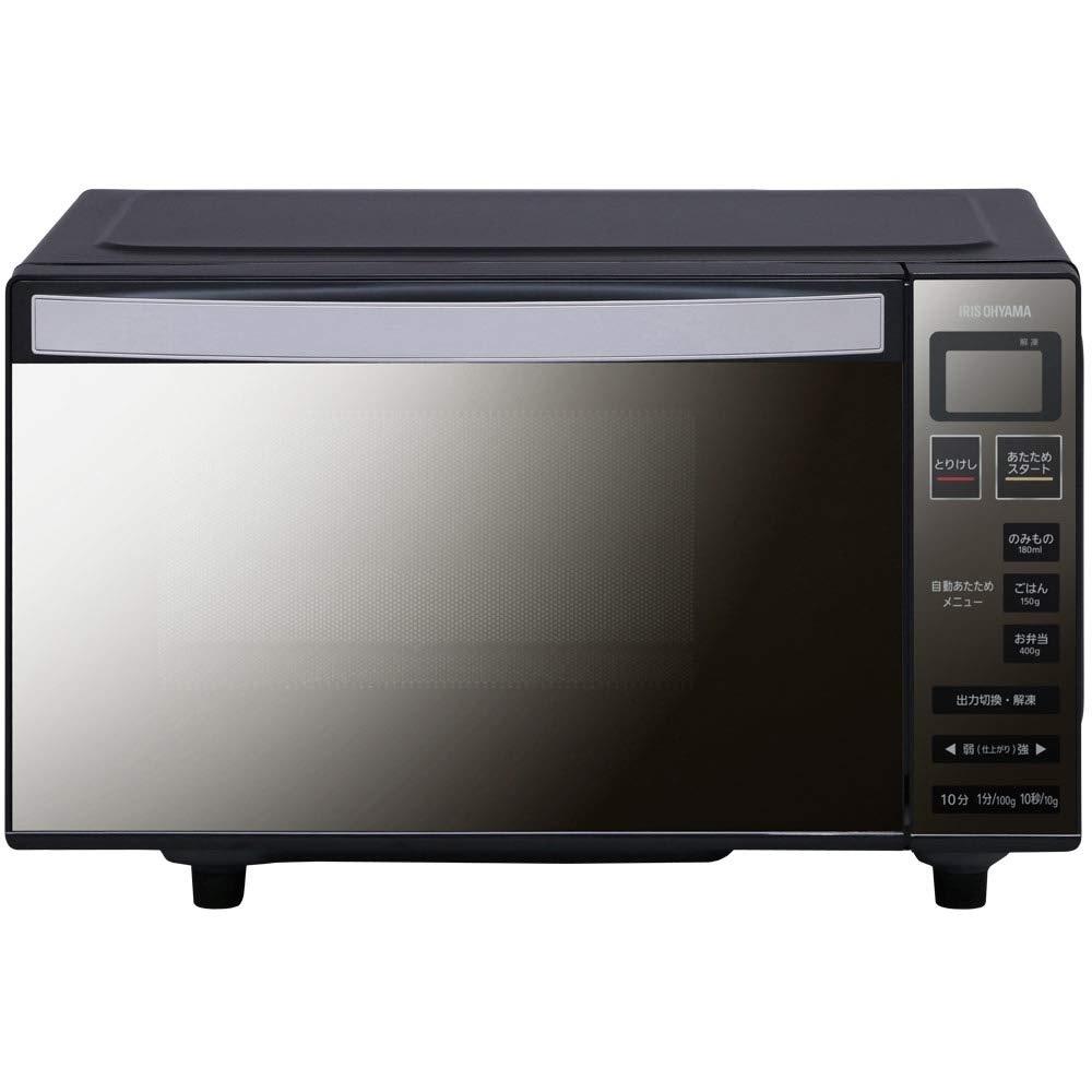 アイリスオーヤマ 電子レンジ フラットテーブル ミラーガラス MO-FM1804-B(ブラック)
