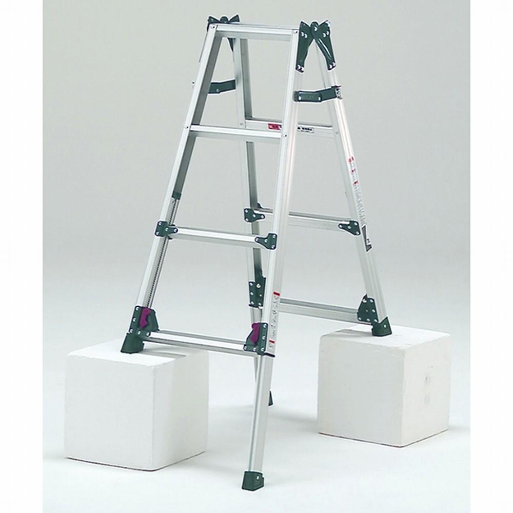 ピカコーポレイション アルミ四脚アジャスト式兼用脚立 高さ伸縮 KS-120A 【〇】