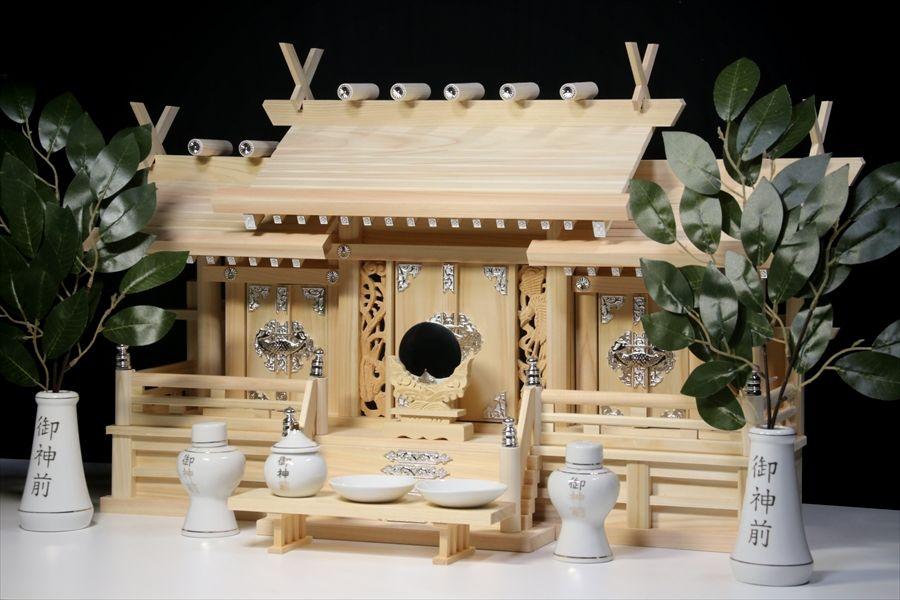 鳳凰三社シルバー金具・大 ■ 屋根違い ■ 銀風三社 鳳凰の彫刻 特大型 ■ 金文字神具 神棚セット