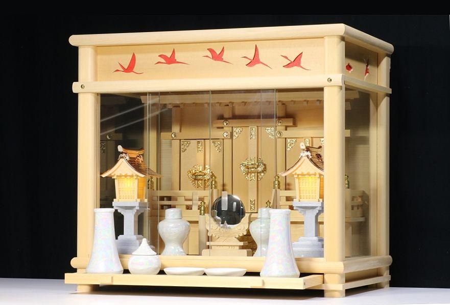 匠造り ■ 箱宮 ■夕鶴 ■ 檜葉材 三社 神棚セット ■ 真珠調 神具セット