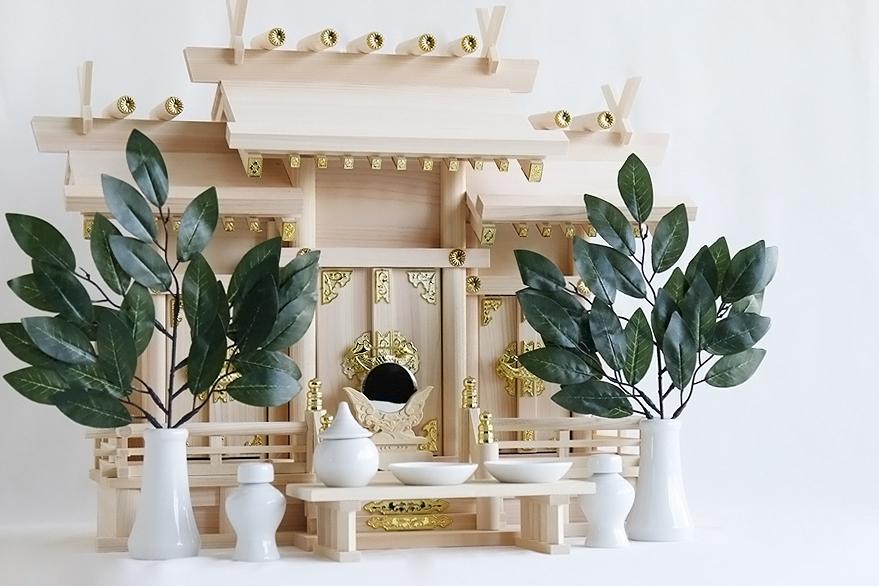 三社 ■ 屋根違い 東濃ひのき職人手造り 組み勾欄 神棚セット■ 神具付 神具セット ■