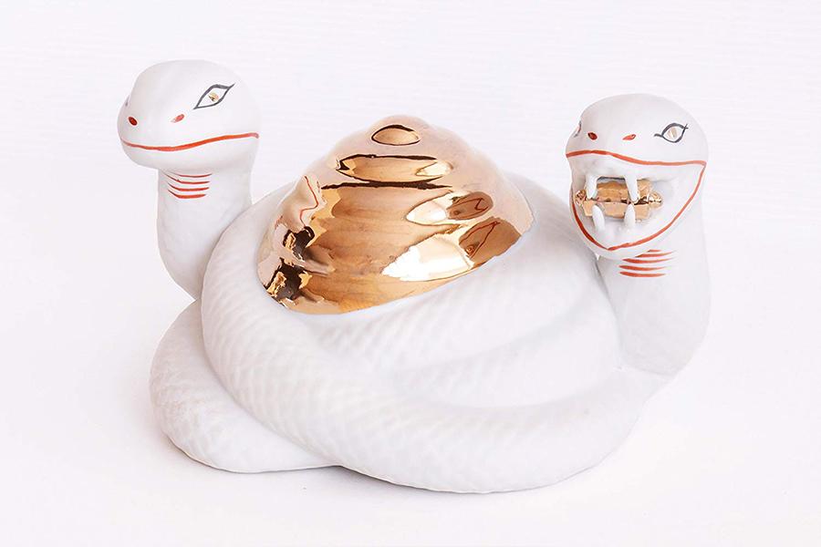 ■ 巳神(ヘビ)■ 特大サイズ ■ 巳様 みさま 蛇 ■ お社の守護神 陶製 神具