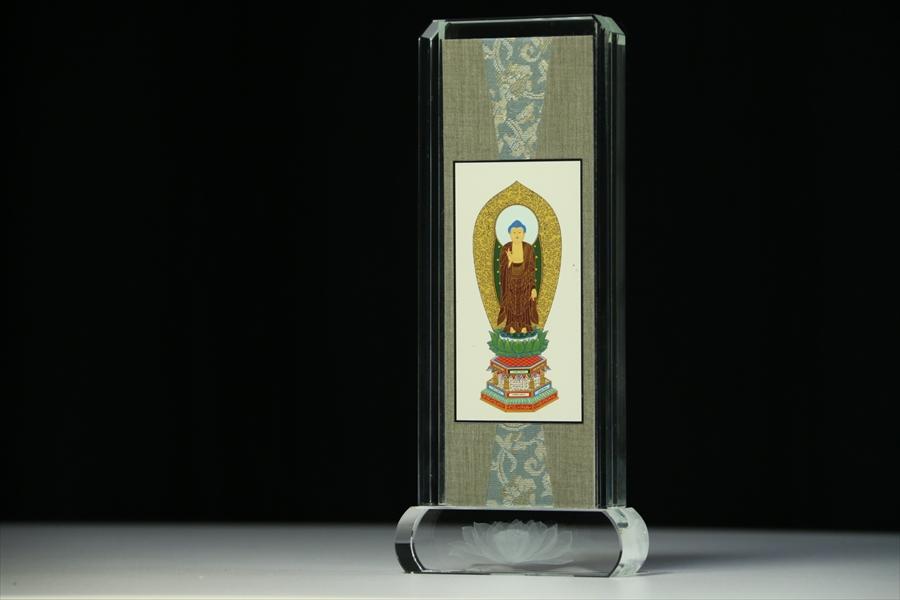 仏具 ■ 阿弥陀如来立像浄土宗 本尊 スタンド 掛け軸 ■ クリスタル ガラス 小