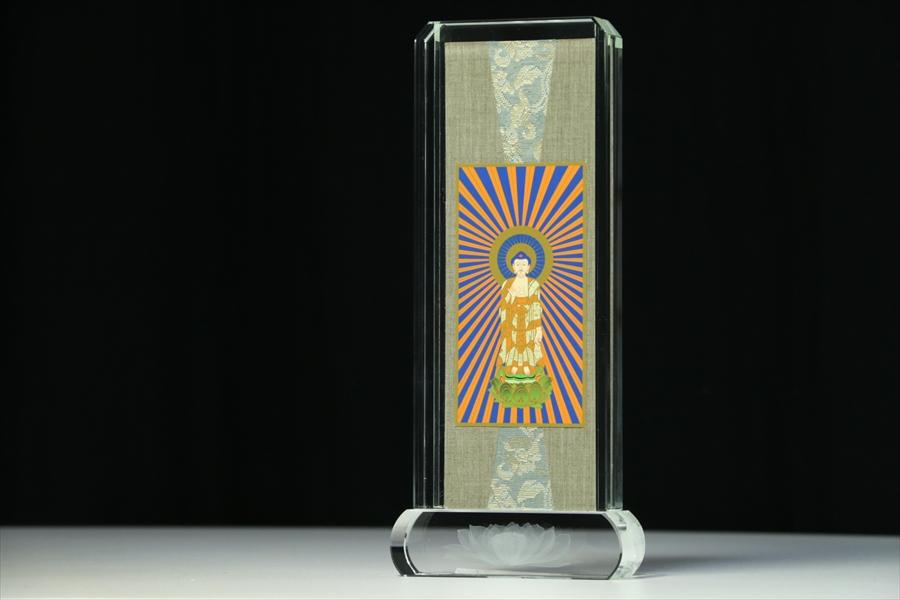 仏具 ■ 阿弥陀如来立像浄土真宗 高田派 スタンド 掛け軸 ■ クリスタル ガラス 小