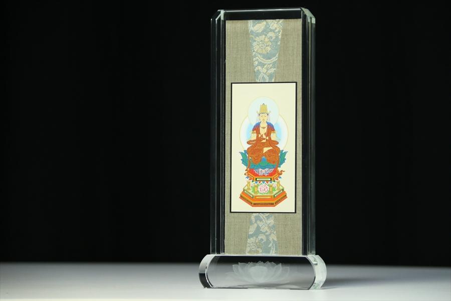 仏具 ■ 大日如来像真言宗 本尊 スタンド掛け軸 ■ クリスタル ガラス 小