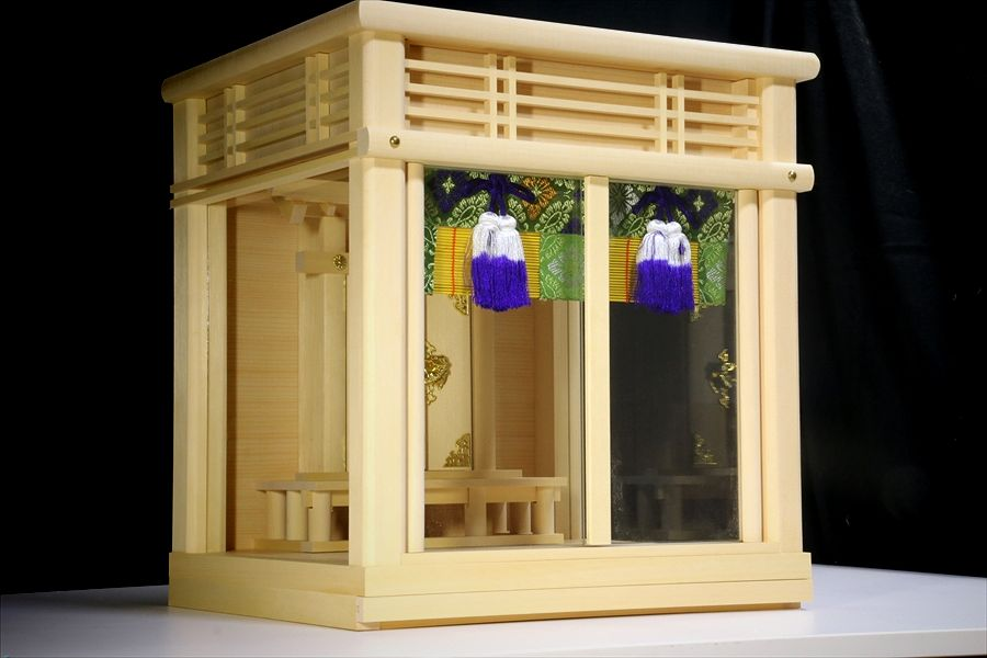 美しい箱宮■三面ガラス宮 御簾付 ■檜葉材の神棚■壁掛け 小型 12号(お社本体)高さ39cm×幅37cm×奥行き32cm