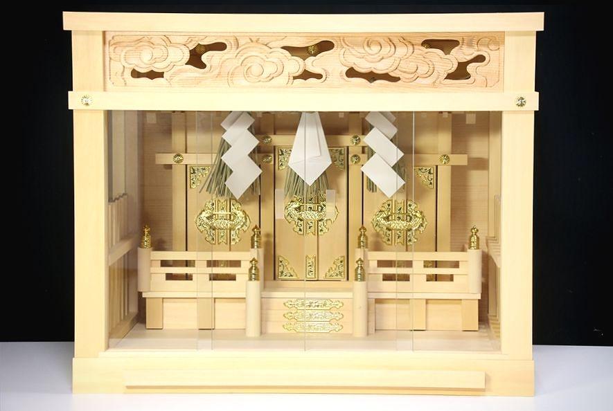 匠造り ■ 箱宮 ■ 注連縄付 16号 ■ 檜葉材 三社 神棚 玉垣 三面ガラス 引出し付