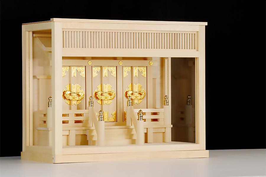 極上明り障子の 箱宮金具 三社■ 二種類の欄間 ■薄型 三面ガラス 壁掛け 神棚
