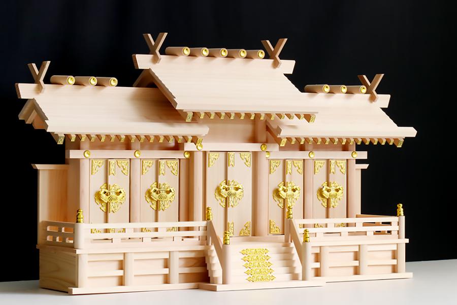 美しい、東濃桧■屋根違い 五社大型 金襴貼り■木の風合■職人手造り■神棚