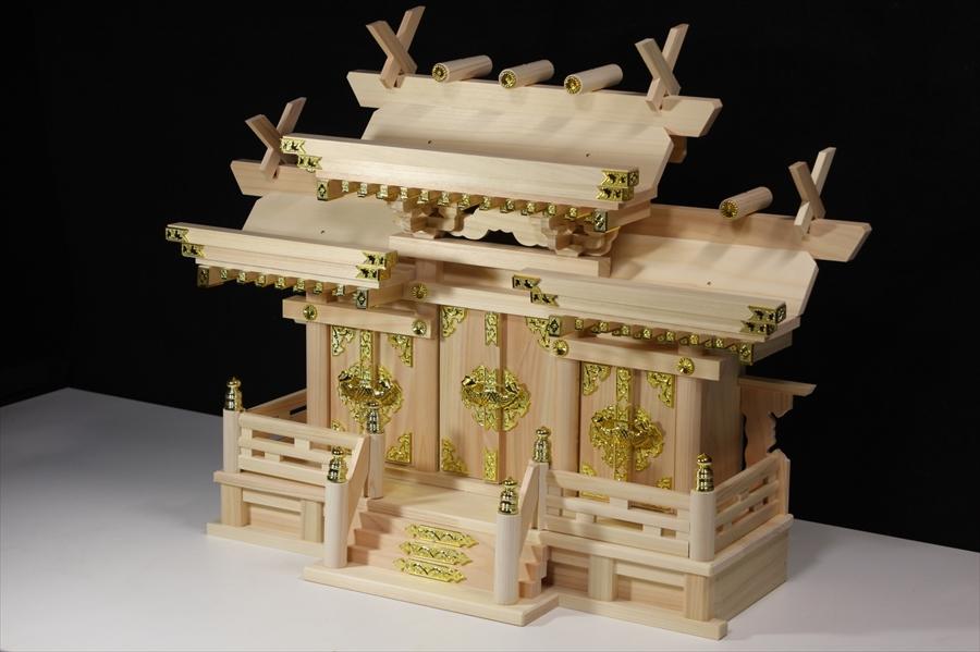 美しい、東濃桧■ 升組造り 屋根違い 特大型 ■マス組付 ■神棚 (お社本体)高さ63cm×幅73cm×奥行き27cm