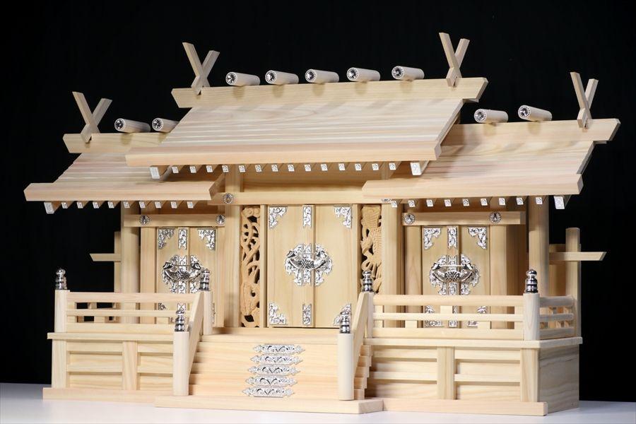 屋根違い■銀風三社■鳳凰の彫刻■特大型 幅80cm■東濃ひのき 神棚