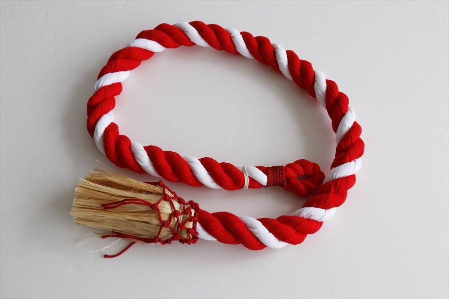 国産■ 紅白 鈴紐【綿芯】8尺 ■ 鈴緒 神具 ■ サイズ約 (cm) 長さ240 縄径4.8