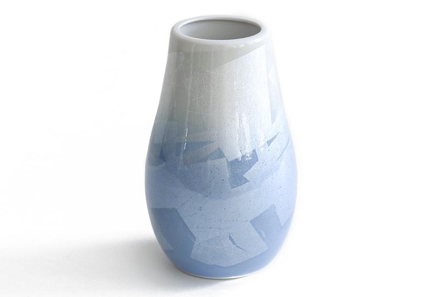 国産 陶器 花瓶 ■ パール仕上げ ■ 青 7寸 ■ 下太 ■ 単品 高さ22cm ■ 花瓶