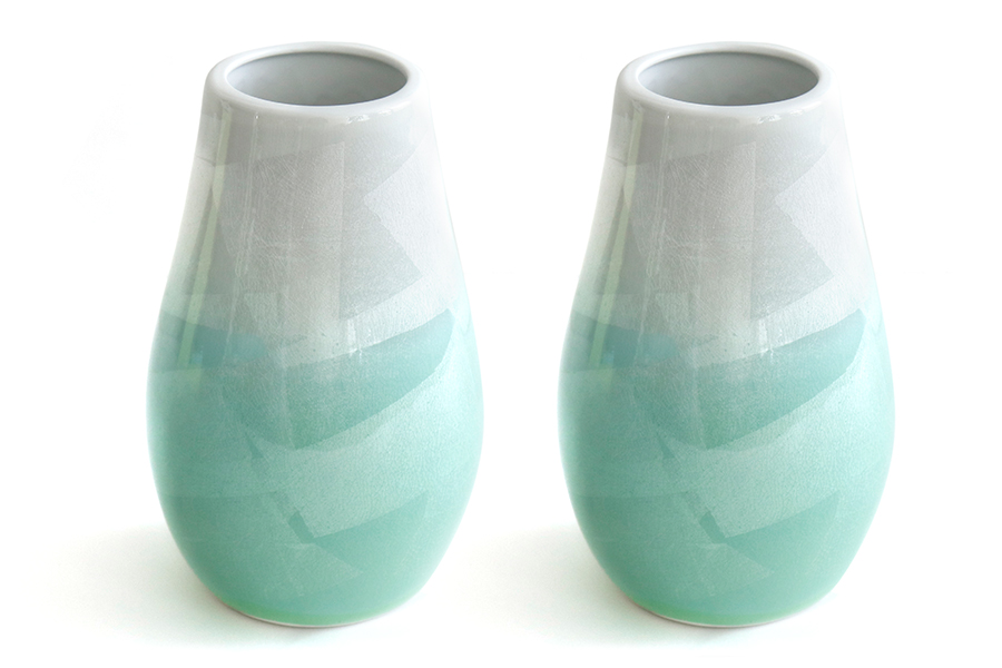 国産 陶器 花瓶 ■ パール仕上げ ■ 緑 7寸 ■ 下太 ■ 2本組 高さ22cm ■ 花瓶