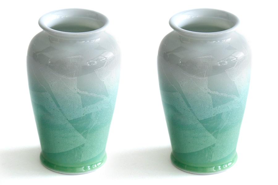 国産 陶器 花瓶 ■ パール仕上げ ■ グリーン 8寸 ■ 2本組 高さ25cm ■ 花瓶