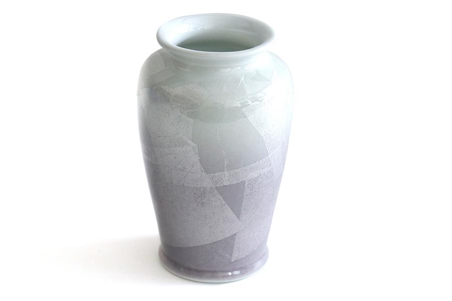国産 陶器 花瓶 ■ パール仕上げ ■ パープル 8寸 ■ 単品 高さ25cm ■ 花瓶