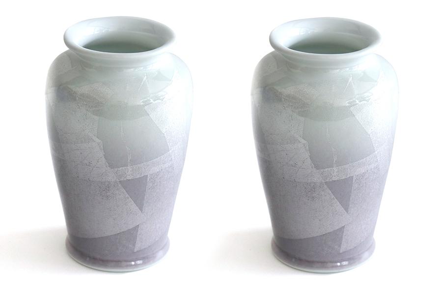 国産 陶器 花瓶 ■ パール仕上げ ■ パープル 8寸 ■ 2本組 高さ25cm ■ 花瓶