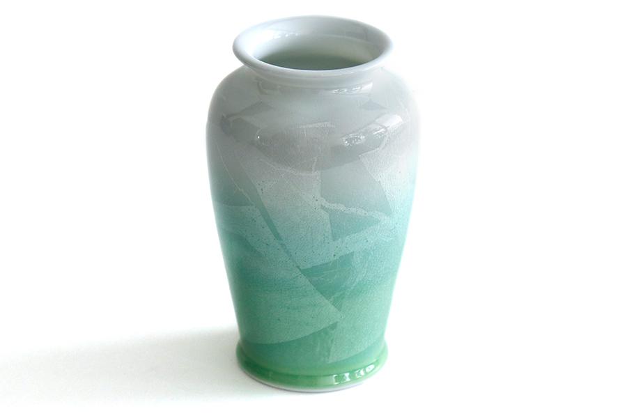国産 陶器 花瓶 ■ パール仕上げ ■ グリーン 8寸 ■ 単品 高さ25cm ■ 花瓶