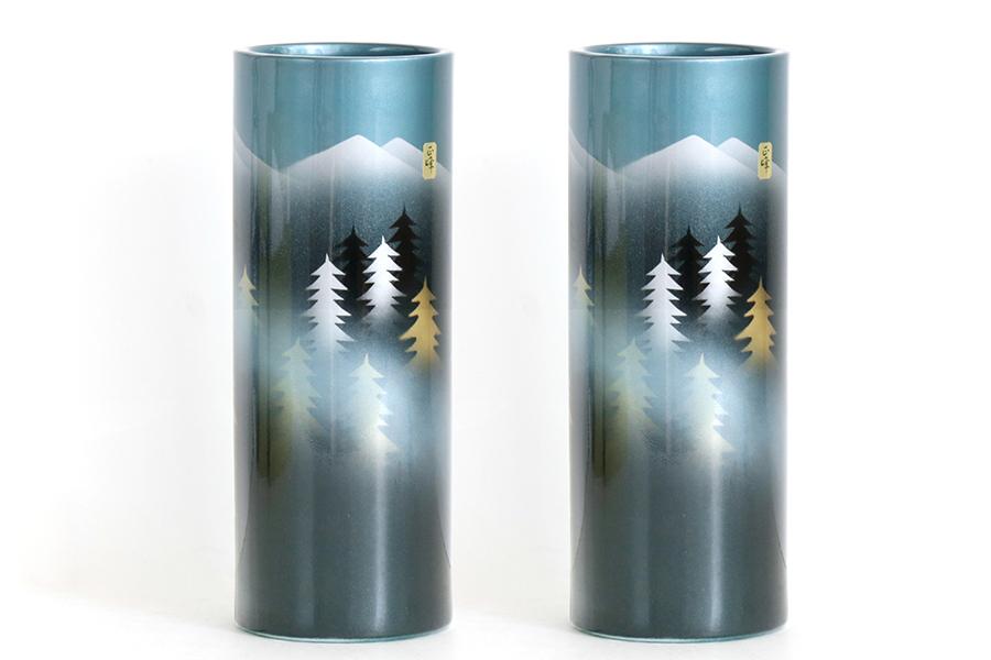 国産 陶器 ■ 寸胴 花瓶 ■ 投入 尺 ■ 山霧 ■ 2本組 ■ 高さ30cm ■ 仏壇 お盆 お彼岸 お墓参り 供養