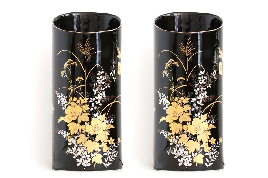国産 陶器 花瓶 ■ 金芙蓉 8寸 ■ 2本組 ■ 高さ24cm ■ 仏壇 お盆 お彼岸 お墓参り 供養