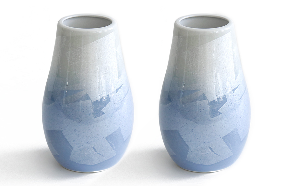 国産 陶器 花瓶 ■ パール仕上げ ■ 青 7寸 ■ 下太 ■ 2本組 高さ22cm ■ 花瓶