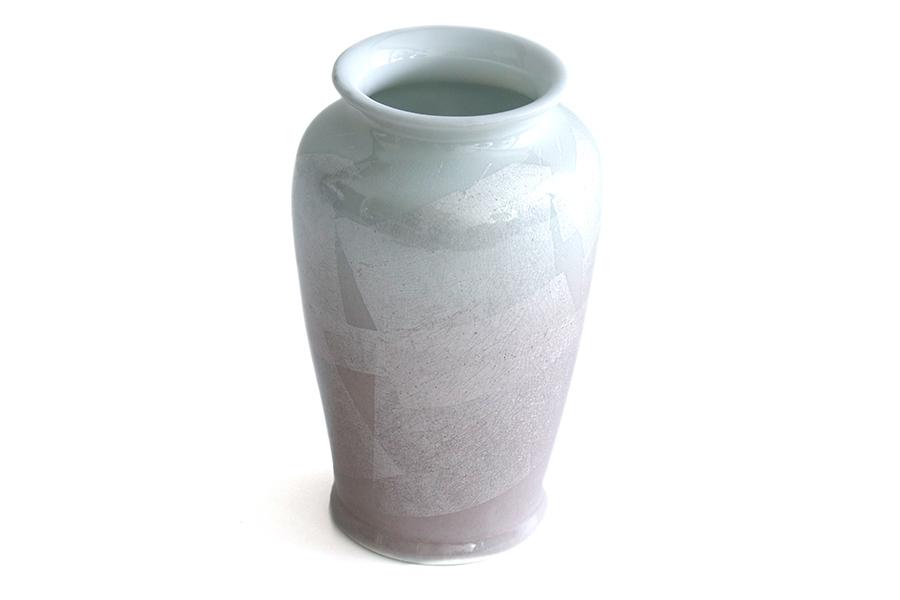 国産 陶器 花瓶 ■ パール仕上げ ■ ピンク 8寸 ■ 単品 高さ 25cm ■ 花瓶