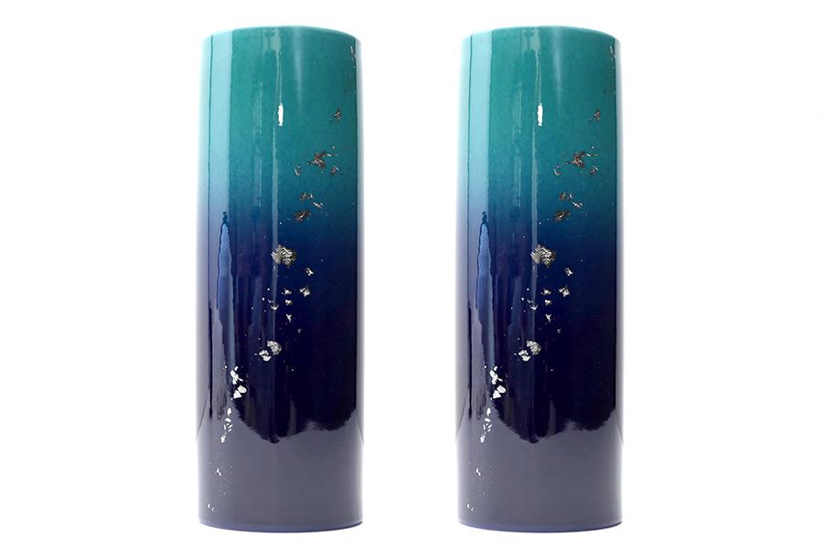 国産 陶器 投入 ■ 光明6寸 ■ 九谷焼 ■ 2本組 高さ18.5cm ■ 寸胴 花瓶