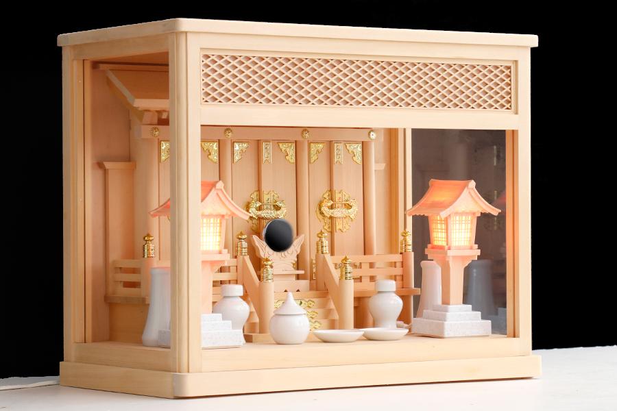ガラス宮 16号 箱宮 神棚セット ■ 灯ろう 一対 コンセント型 ■ 神棚 セット 三社 神具付き