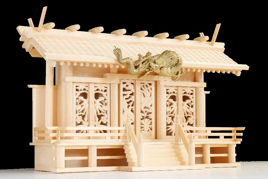 舞う、龍神 三社神棚 ■ 神殿 眠り龍 ■ 透かし彫刻 絢爛
