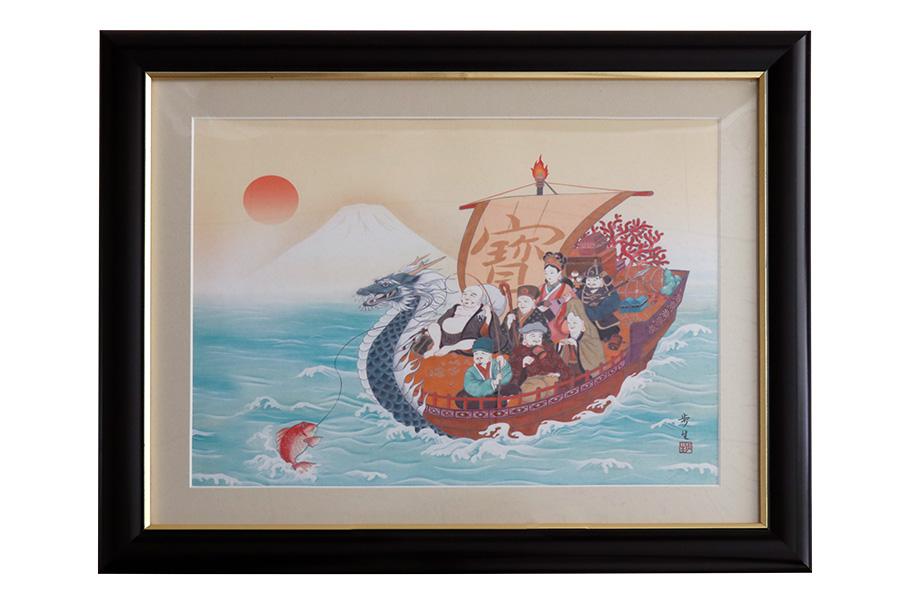 額 七福神 龍 和風 モダン 飾り 縁起物 インテリア 北山歩生 日本画 中
