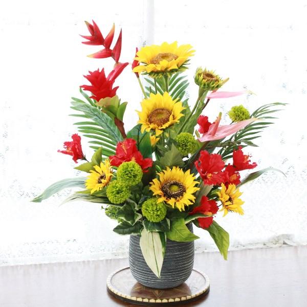 造花 ひまわりとヘルコニアの華やかな夏のアレンジ造花 シルクフラワー フェイク ヒマワリ 向日葵 CT触媒