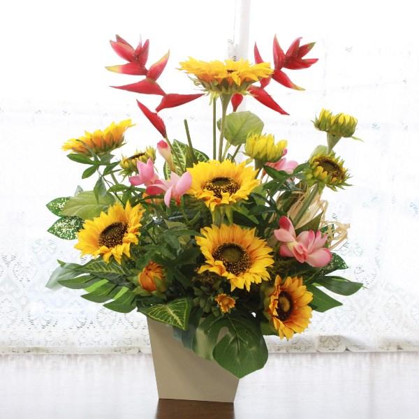 造花 ひまわりとヘルコニアの大ぶりな夏のアレンジ造花 シルクフラワー ヒマワリ 向日葵 フェイク CT触媒
