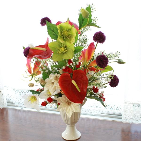 造花 グロリオサとクレマチスの豪華なアレンジ CT触媒 クリスマス