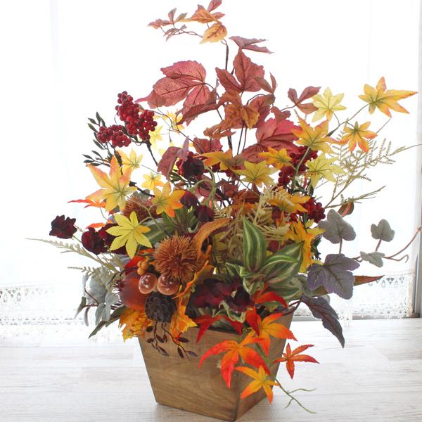 造花 バラやルドベキアの大ぶりな秋のアレンジ シルクフラワー CT触媒