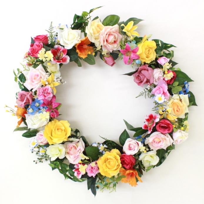 造花 カーニバルイメージのカラフルなフラワーリース シルクフラワー CT触媒