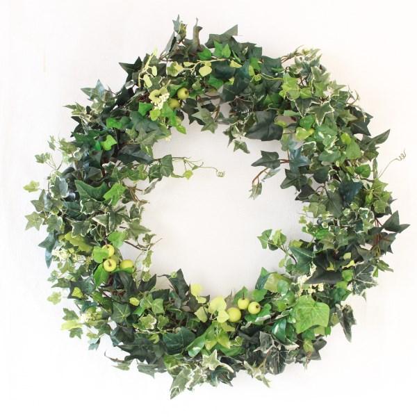 観葉植物 造花 リース アイビーと実ものの超ジャンボなリース フェイクグリーン 人工観葉植物 CT触媒