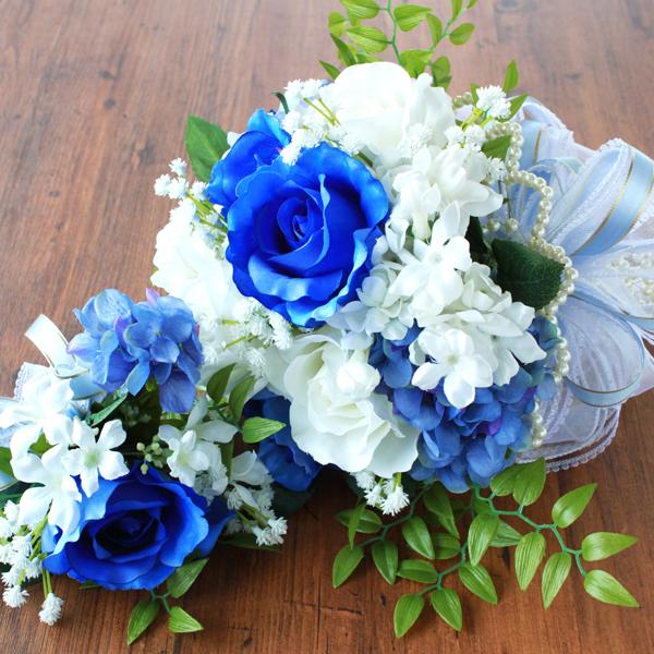 造花 サムシングブルーとホワイトのバラのラウンドブーケとブートニアのセット シルクフラワー ブライダル ウェディング CT触媒