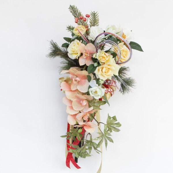 造花 モダンファレノとシャイニーメープルの金運アップのお正月飾り しめ縄 しめ飾り 玄関飾り シルクフラワー CT触媒