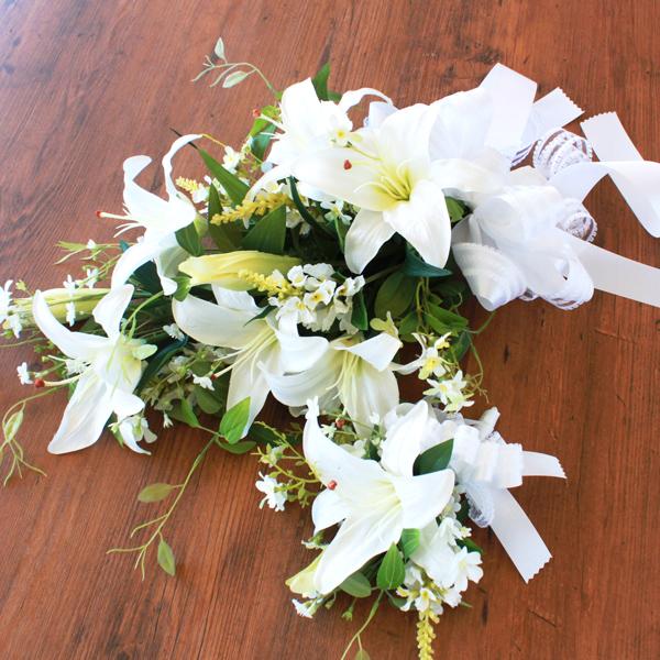 ウェディング 造花 プライマルカサブランカとトラノオのブーケとブートニアのセット ブライダル CT触媒 シルクフラワー