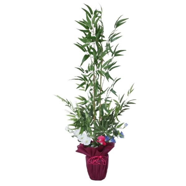 笹 造花 笹竹の鉢植え 130cm 七夕 笹 鉢植え 人工観葉植物 フェイク CT触媒 snb