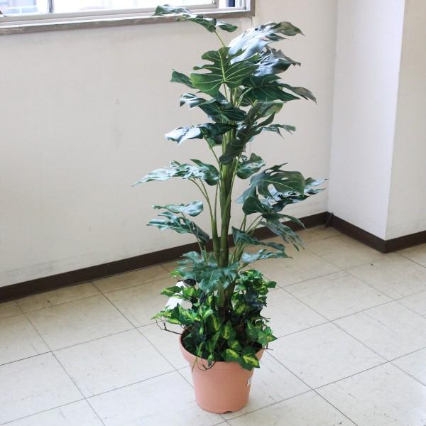 人工観葉植物 大型 ミディアムサイズグリーン モンステラ 110cm 造花 CT触媒 snb