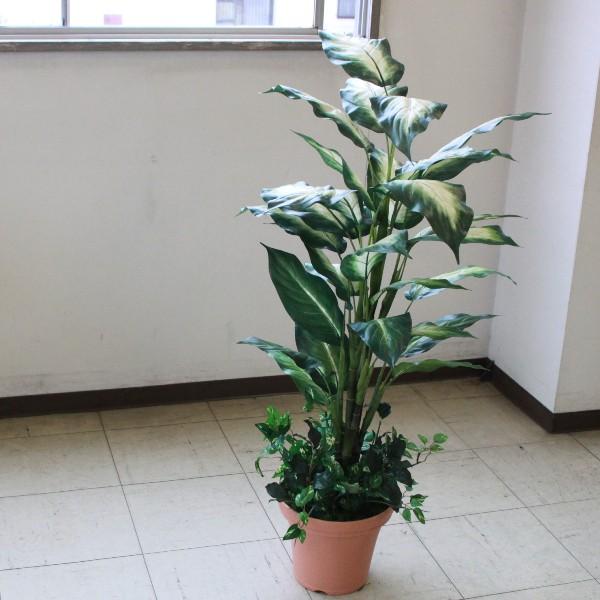 フェイクグリーン 大型 ミディアムサイズグリーン ディフェンバキア 110cm 人工観葉植物 snb CT触媒