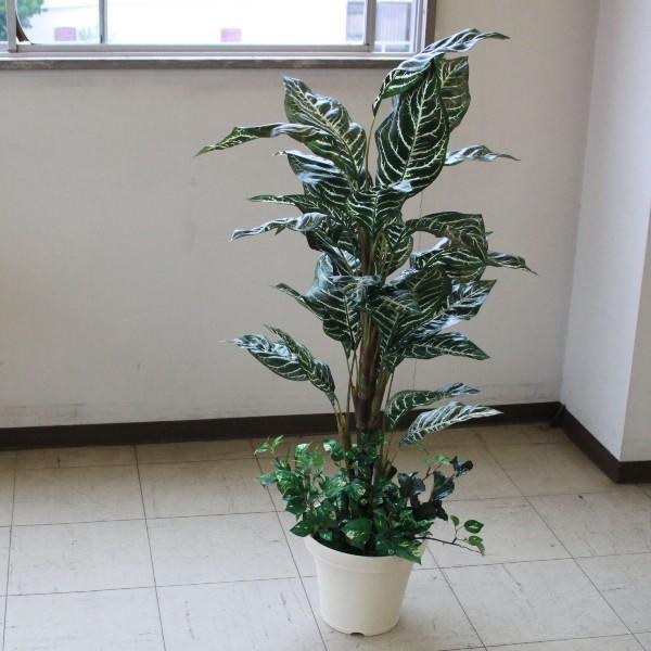 観葉植物 大型 フェイク ミディアムサイズグリーン ゼブラ 110cm 人工観葉植物 snb CT触媒