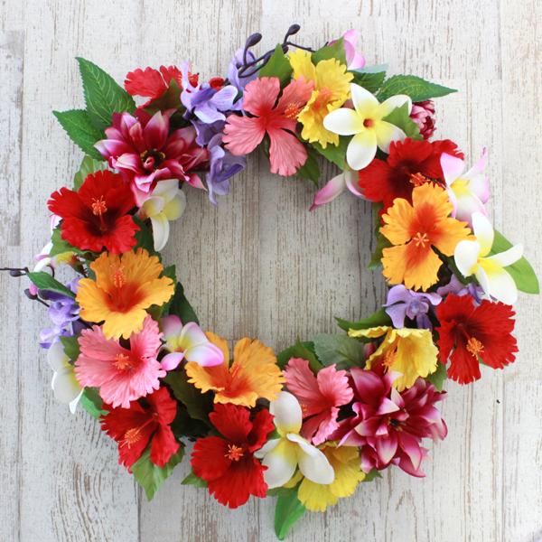 造花 ハイビスカスとプルメリアのリース ハイビスカス シルクフラワー CT触媒