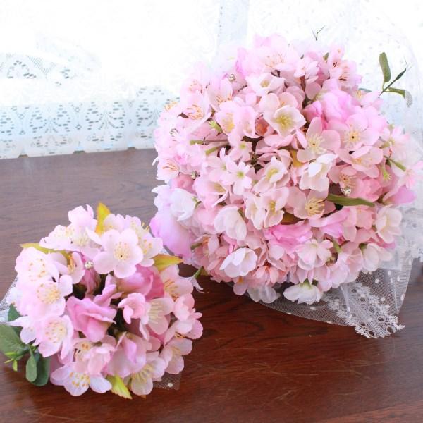 桜 造花 桜のチュール付ブーケとブートニアのセット ウェディング ブライダル 造花 シルクフラワー CT触媒