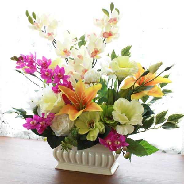 造花 仏花 シンビジュームとダリアのアレンジ シルクフラワー CT触媒