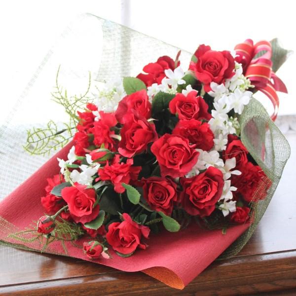 思いっきり豪華な紅いバラの花束r【造花】