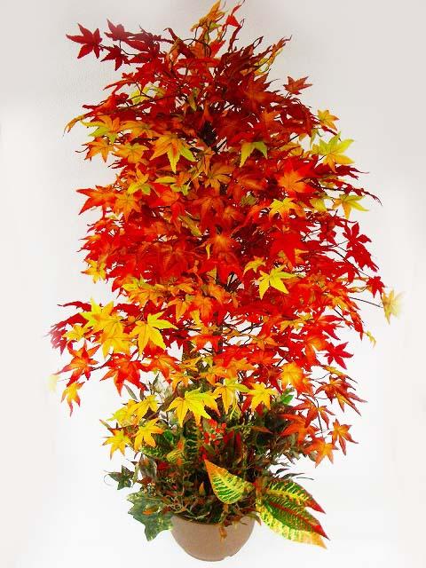 造花 もみじの鉢植え ディスプレイアレンジ L120 snb 観葉植物 紅葉 CT触媒
