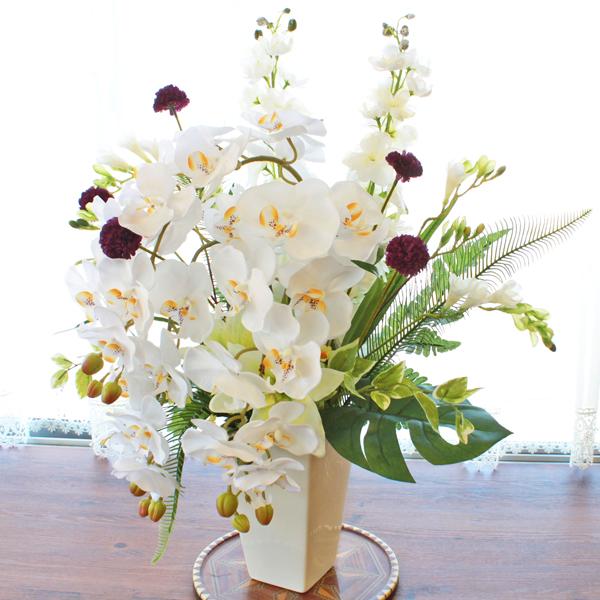 造花 仏花 胡蝶蘭とユリのミントグリーンのアレンジ CT触媒 シルクフラワー